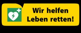 Ein gelbes Logo mit schwarzer Umrandung - Text: Wir helfen Leben retten und einem grünem Icon auf der linken Seite mit einem weißem Herz, welches ein grünes Blitzzeichen in der Mitte hat, rechts neben dem Herz ist ein Pluszeichen zu sehen - Copyright: s-p Media GmbH